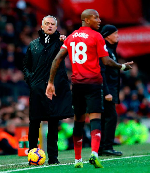 Manchester United manager Jose Mourinho gestures on the touchline