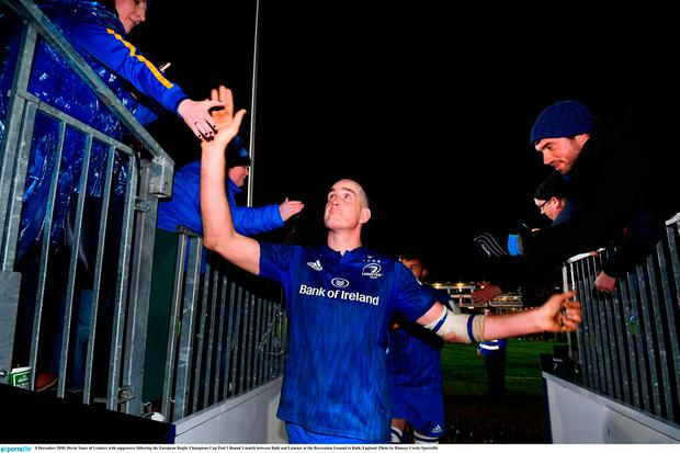 Devin Toner of Leinster with supporters following the European Rugby Champions Cup Pool 1 Round 3 match between Bath and Leinster at the Recreation Ground in Bath, England. Photo by Ramsey Cardy/Sportsfile