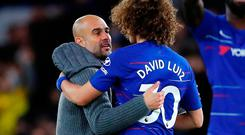 Manchester City manager Pep Guardiola and Chelsea's David Luiz