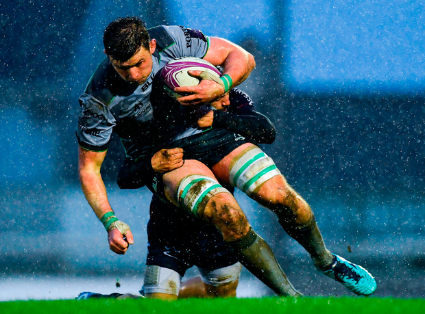 Connacht's Eoghan Masterson is tackled by Jonathan Bousquet of Perpignan during the match in Galway. Photo: Piaras Ó Mídheach/Sportsfile
