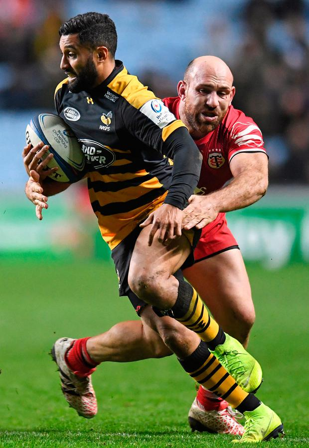 Wasps' Lima Sopoaga is tackled by Toulouse's Lucas Pointud. Photo: Reuters