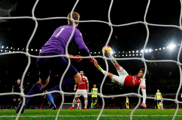 Arsenal's Lucas Torreira scores. Photo: Peter Cziborra/Action Images via Reuters