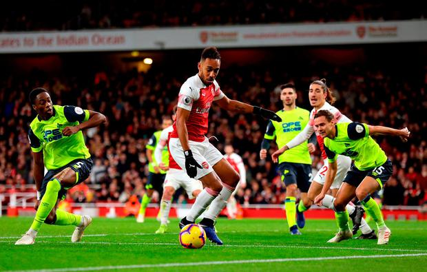 Arsenal's Pierre-Emerick Aubameyang in action. Photo: Isabel Infantes/PA Wire