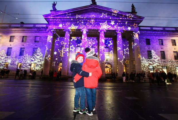 JJ (5) and Christian Doyle (4) from Edenderry at Dublin's GPO
