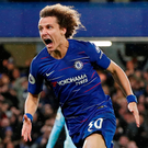 David Luiz celebrates scoring Chelsea's winning goal. Photo: John Sibley/Reuters