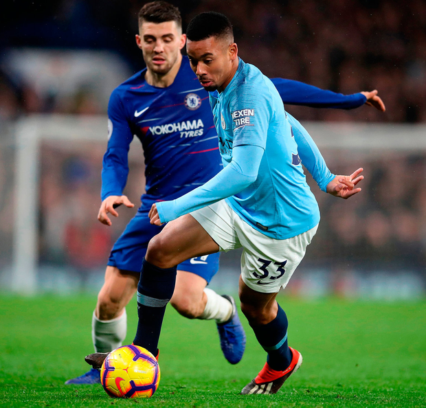 Manchester City's Gabriel Jesus (right) and Chelsea's Mateo Kovacic battle for the ball. Photo: Adam Davy/PA