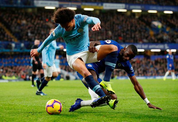 Manchester City's Leroy Sane in action with Chelsea's Antonio Rudiger. Photo: John Sibley/Reuters