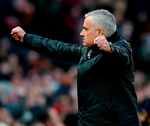Manchester United manager Jose Mourinho celebrates after Juan Mata scores his side's second goal. Photo: Barrington Coombs/PA Wire