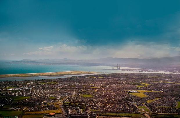 A view of Dublin from a plane