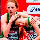 Emma O'Brien, left, and Sarah Healy of Ireland after competing in the U20 Women's event during the European Cross Country Previews at Beekse Bergen Safari Park in Tilburg, Netherlands. Photo by Sam Barnes/Sportsfile