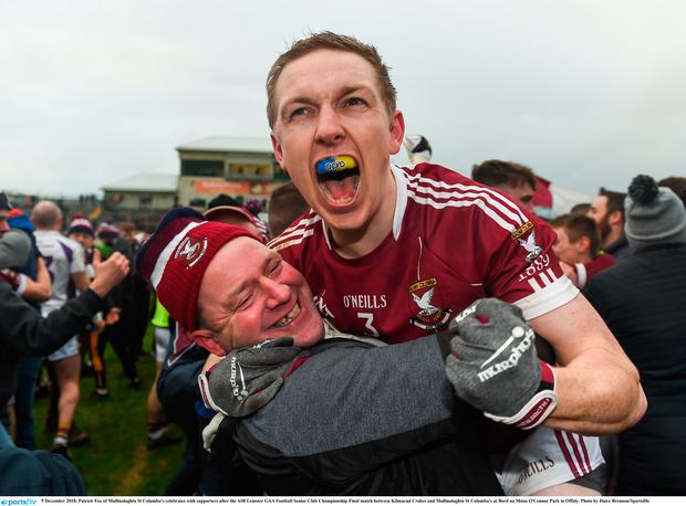 9 December 2018; Patrick Fox of Mullinalaghta St Columba's celebrates with supporters after the AIB Leinster GAA Football Senior Club Championship Final match between Kilmacud Crokes and Mullinalaghta St Columba's at Bord na Móna O'Connor Park in Offaly. Photo by Daire Brennan/Sportsfile