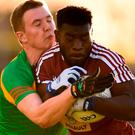 Boidu Sayeh of Westmeath in action against John Murphy of Carlow during the O'Byrne Cup Round 1 match between Carlow and Westmeath at Netwatch Cullen Park in Carlow. Photo by Stephen McCarthy/Sportsfile