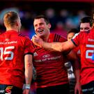CJ Stander of Munster celebrates after scoring his side's second try during the European Rugby Champions Cup Pool 2 Round 3 match between Munster and Castres at Thomond Park in Limerick. Photo by Brendan Moran/Sportsfile