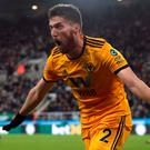 Wolverhampton Wanderers' Matt Doherty celebrates scoring their winner