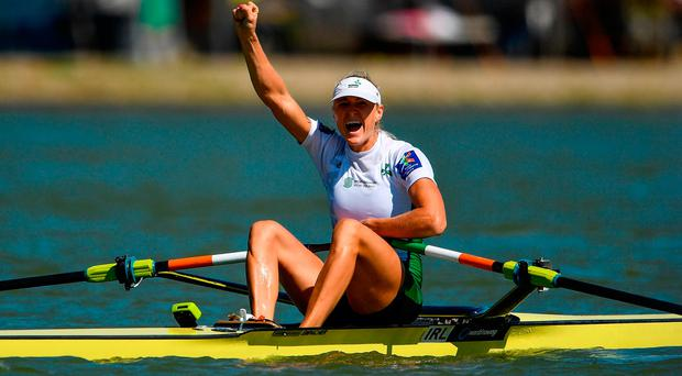 Golden girl: Ireland's Sanita Puspure celebrates after winning the Women's Single Sculls at the World Rowing Championships in Bulgaria. Photo by Seb Daly/Sportsfile