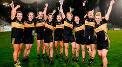 Mourneabbey players celebrate with the Dolores Tyrrell Memorial Cup after beating Foxrock-Cabinteely in the ladies All-Ireland Club SFC final at Parnell Park. Photo by Stephen McCarthy/Sportsfile