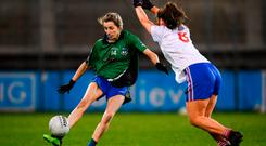 Bridín Tierney of Emmet Óg in action against Sarah Fagan of Clontarf. Photo by Stephen McCarthy/Sportsfile