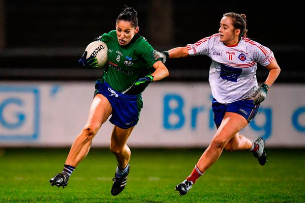 Marion McCarville of Emmet Óg in action against Tara Fitzgibbon of Clontarf. Photo by Stephen McCarthy/Sportsfile