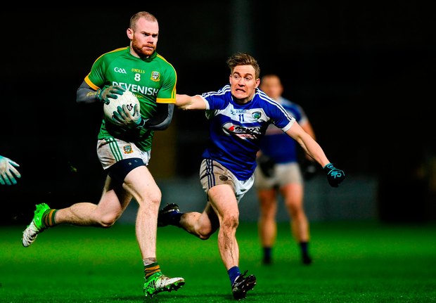 Sean Tobin of Meath in action against David Conway of Laois. Photo by Eóin Noonan/Sportsfile