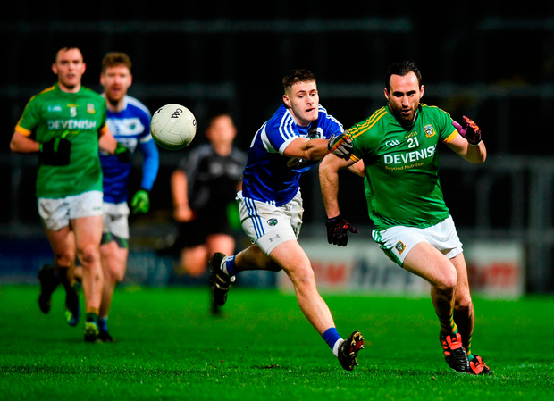 Graham Reilly of Meath in action against Patrick O'Sullivan of Laois. Photo by Eóin Noonan/Sportsfile
