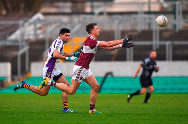 John Keegan of Mullinalaghta St Columba's in action against Cian O'Sullivan of Kilmacud Crokes. Photo by Daire Brennan/Sportsfile