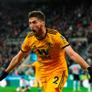 Matt Doherty celebrates after his late winner broke Newcastle hearts last weekend. Photo by Stu Forster/Getty Images