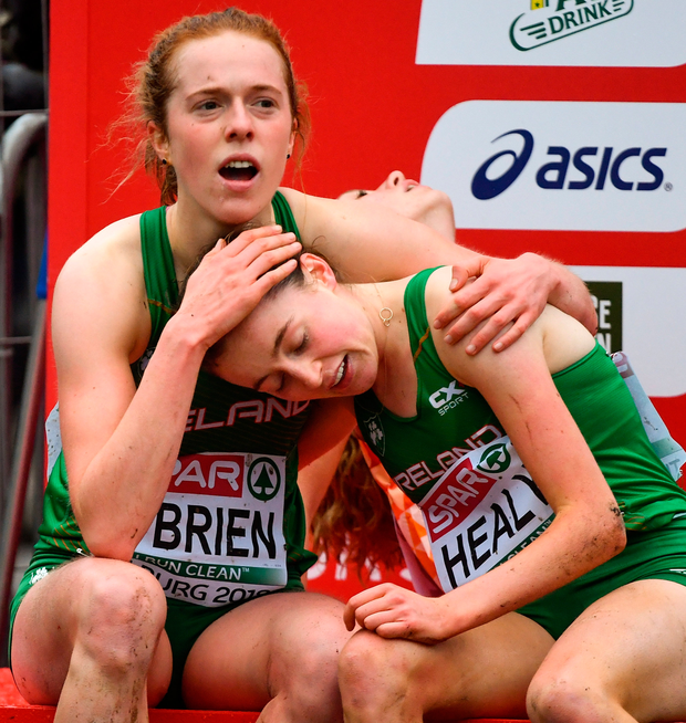 Emma O'Brien and Sarah Healy after competing in the European Cross-Country Championships in Tilburg. Photo: Sportsfile