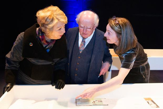 Presidential seal of approval: RTÉ's 'Sunday Miscellany' radio programme celebrated 50 years of broadcasting yesterday. President Michael D Higgins and his wife Sabina were shown through programme archives by executive producer Clíodhna Ní Anluain. PHOTO: KINLAN PHOTOGRAPHY