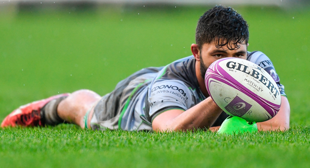 Connacht's Colby Fainga'a of holds the ball in place for a conversion. Photo: Sportsfile