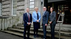 Minister for Business, Enterprise and Innovation, Heather Humphreys TD with from left Leo Clancy, IDA Ireland and Richard Haxby, MathWorks Ireland and Catherina Blewitt, IDA Ireland