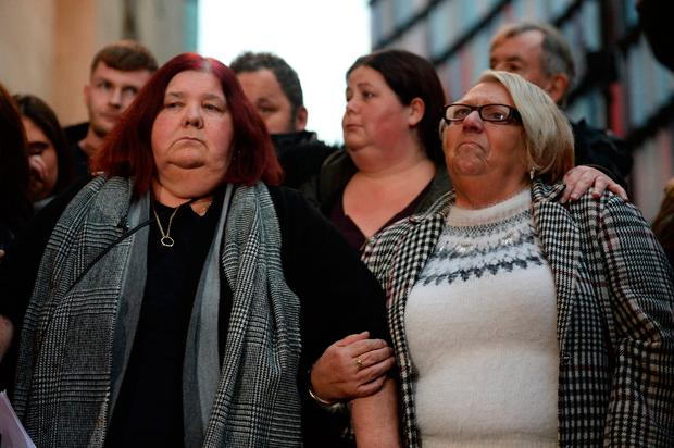 Michelle Hadaway, the mother of Karen Hadaway (left) and Sue Eismann the mother of Nicola Fellows, outside the Old Bailey in London. Photo: Kirsty O'Connor/PA Wire