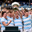 23 March 2018; Blackrock College captain Liam Turner lifts the cup following the Bank of Ireland Leinster Schools Senior Cup Final match between Belvedere College and Blackrock College at the RDS Arena in Ballsbridge, Dublin. Photo by Ramsey Cardy/Sportsfile