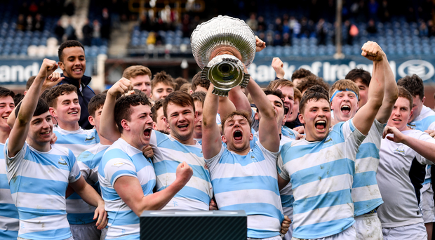 Blackrock College captain Liam Turner lifts the cup following the Bank of Ireland Leinster Schools Senior Cup Final match between Belvedere College and Blackrock College at the RDS Arena in Ballsbridge, Dublin. Photo by Ramsey Cardy/Sportsfile