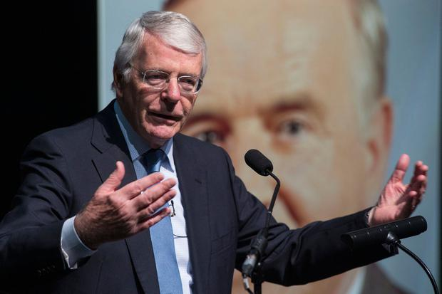 Sir John Major pictured speaking at The Inaugural Albert Reynolds Memorial Lecture at The Backstage Theatre, Longford yesterday. PIC COLIN O'RIORDAN