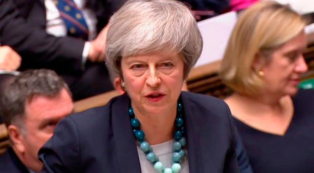 Dramatic scenes: Prime Minister Theresa May makes her statement in the Commons yesterday. Photo: AFP/Getty Images
