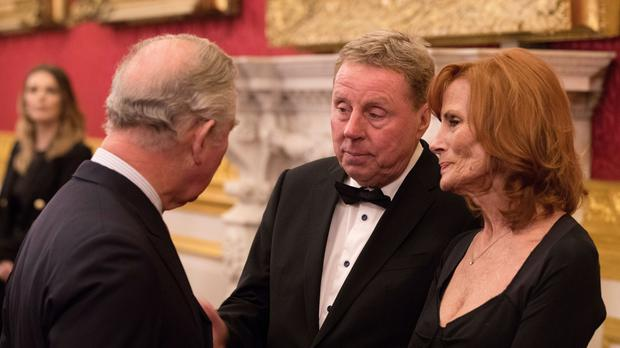 Harry Redknapp and his wife Sandra with the Prince of Wales at an event in February (PA)
