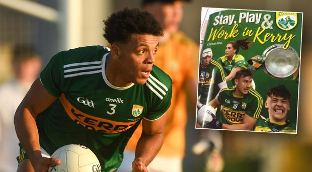 Stefan Okunbor has swapped Kerry for AFL club Geelong and inset, the booklet produced by Kerry GAA