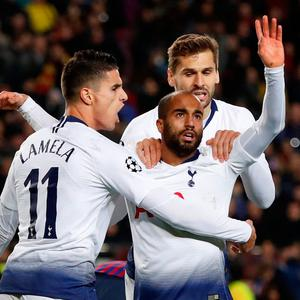 Soccer Football - Champions League - Group Stage - Group B - FC Barcelona v Tottenham Hotspur - Camp Nou, Barcelona, Spain - December 11, 2018 Tottenham's Lucas Moura celebrates with Fernando Llorente and Erik Lamela after scoring their first goal Action Images via Reuters/Paul Childs