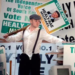 Keep it in the family: Jackie Healy-Rae Jnr, grandson of the famous South Kerry TD, joins his father's campaign in 2016. Picture: Don MacMonagle