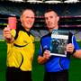 Recruiting young officials to follow in the footsteps of All-Ireland final referees Conor Lane (left) and James Owens is becoming all the more difficult because of the abuse being directed at the man in the middle. Photo: Sam Barnes/Sportsfile