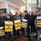 IFA President Joe Healy and Livestock Chairman Angus Woods lead the sit-in protest at the Department of Agriculture. Picture: IFA