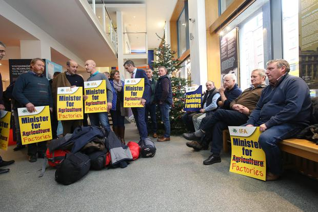Members of the IFA are sitting in at the Department of Agriculture over the refusal of Minister Creed to name the meat factories found guilty of excessively trimming carcases Picture: Finbarr O'Rourke