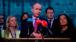 Fianna Fail leader Micheal Martin speaks to the media on the plinth at Leinster House in Dublin. Photo: Brian Lawless/PA Wire