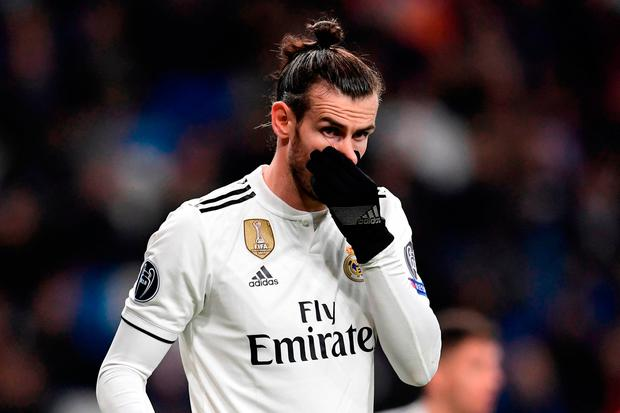 Real Madrid's Welsh forward Gareth Bale reacts during his side's 3-0 home defeat to CSKA Moscow in the Champions League. (Photo by JAVIER SORIANO / AFP)JAVIER SORIANO/AFP/Getty Images