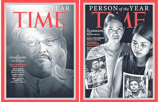 Persons of year: Jamal Khashoggi (left) and the wives of jailed journalists Wa Lone and Kyaw Soe Oo on the cover of 'Time'