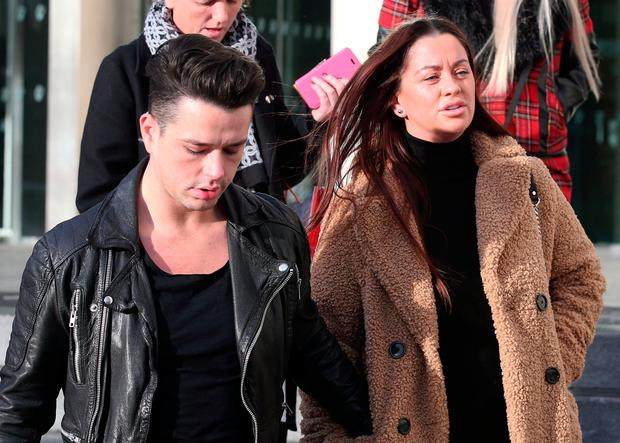 Grief: Noel 'Duck Egg' Kirwan,'s children Kristopher and Donna, leave court yesterday. Photo: Collins Courts