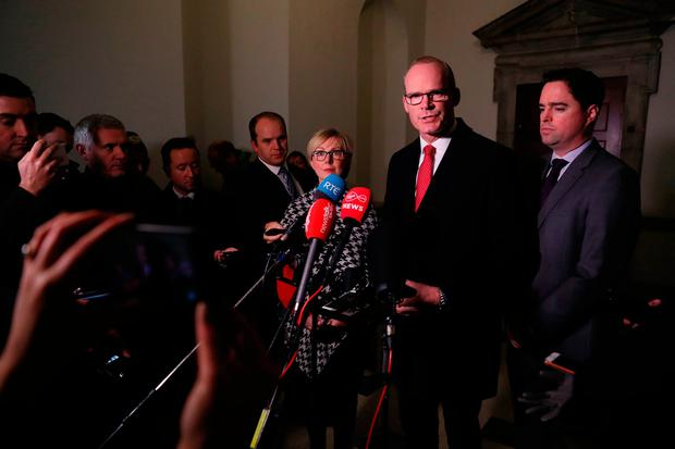 Sky News did attend a media opportunity with Tánaiste Simon Coveney on the renewed Confidence and Supply Agreement in Dublin – but Mr Coveney batted away questions about Mrs May's plight. Photo: Brian Lawless/PA Wire