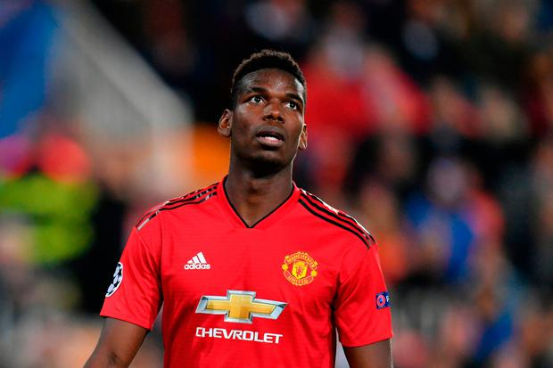 VALENCIA, SPAIN - DECEMBER 12: Paul Pogba of Manchester United reacts during the UEFA Champions League Group H match between Valencia and Manchester United at Estadio Mestalla on December 12, 2018 in Valencia, Spain. (Photo by Dan Mullan/Getty Images)
