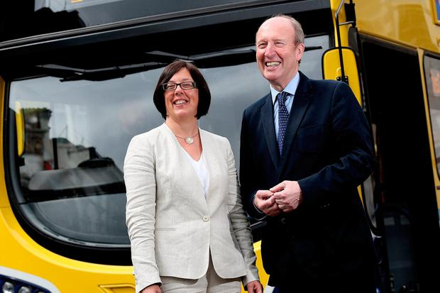 Minister for Transport, Sport and Tourism Shane Ross and Anne Graham, Chief Executive Officer of the National Transport Authority. Photo: Julien Behal