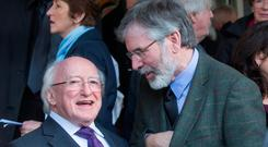 Gerry Adams said President Higgins was 'too strong'. Photo: Mark Condren